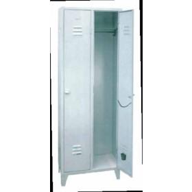 Kit armadio spogliatoio 1 posto in lamiera verniciata grigio con serratura cm. 35x33x180h - arredo casa ufficio balcone garage condominio