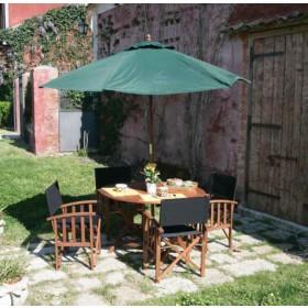 Ombrellone tondo verde struttura in legno top in poliestere ø cm. 250 - arredo casa giardino