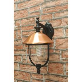 Lanterna con braccio Mod. Copper in alluminio verniciato nero con copertura in rame per lampada da 60 W - casa giardino