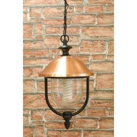 Lanterna con catena Mod. Copper in alluminio verniciato nero con copertura in rame per lampada da 60 W - casa giardino