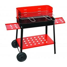 Barbecue a Carbonella Mod. 503R struttura in acciaio Griglia regolabile 2 ripiani laterali e vano portaoggetti con ruote - arredo casa giardino