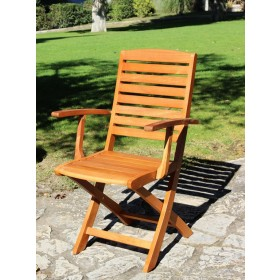 Poltrona sedia pieghevole Serie Victor in legno balau finitura ad olio cm. 54x54x90h - arredo casa giardino