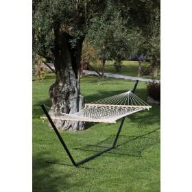Amaca doppia con asse di legno e rete in filo cm. 150x200 - giardino casa mare