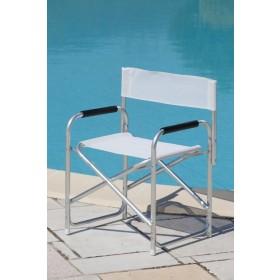 Poltrona da regista serie Playa struttura in alluminio colore bianco - sedia giardino mare campeggio