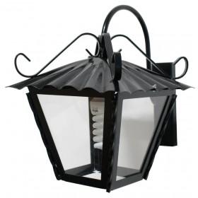 Lanterna con braccio Mod. Antico in ferro battuto nero anticato con protezione in vetro per lampada da 60 W - casa giardino