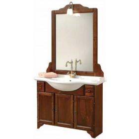 Mobile bagno in legno finitura arte povera completo di specchio e lavabo serie Grazia cm. 105x51x196h - arredo casa