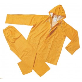 Completo impermeabile giacca e pantaloni poliestere PVC giallo tg L