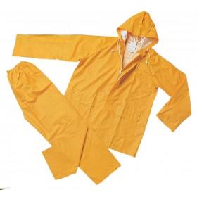 Completo impermeabile giacca e pantaloni poliestere PVC giallo tg XL