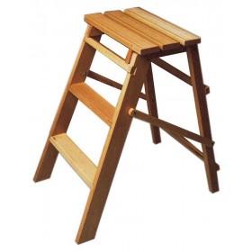 Sgabello salvaspazio legno faggio 3 gradini completo tacchetti h 79 cm