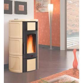 Termostufa a pellet Nordica Mod. Iside Idro in maiolica pergamena stufa 5.3-18.8 kW 540 m³ - riscaldamento casa arredo interni
