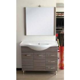 Mobile bagno finitura palissandro in legno MDF completo di specchio e lavabo serie Antonella cm. 105 - arredo casa