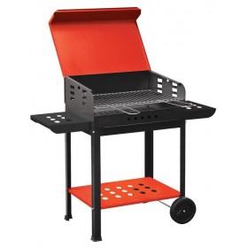 Barbecue a Carbonella Mod. Vanessa struttura in acciaio Griglia regolabile ripiano estraibile e vano portaoggetti con ruote - arredo casa giardino