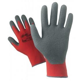Guanti da lavoro nylon palmo lattice conf 12 paia tg 8 rosso/grigio