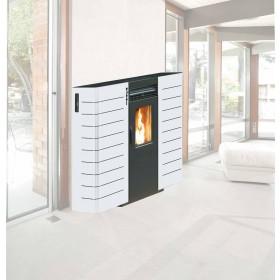 Stufa a pellet King Mod. Slim 10 canalizzata bianca 2.9-9.0 kW - riscaldamento casa arredo interni