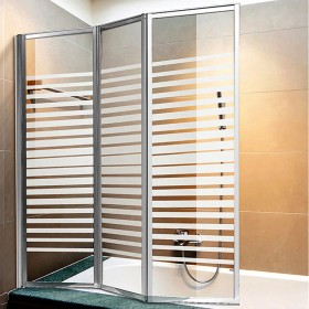Parete vasca 3 ante in cristallo serigrafato 4 mm dimensioni cm 134x140h - box arredo bagno