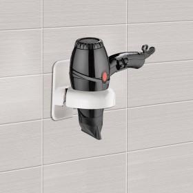 Supporto per asciugacapelli porta phon da parete in resina bianco Gedy Art. 5052