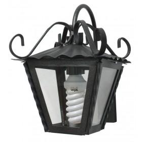 Lanterna con braccio Mod. Garden in ferro battuto grigio metallizzato con protezione in vetro per lampada da 60 W - casa giardino