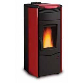 Termostufa a pellet Nordica Mod. Melinda Idro stufa bordeaux 4.3-14.0 kW 400 m³ - riscaldamento casa arredo interni