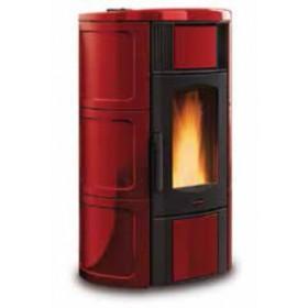 Termostufa a pellet Nordica Mod. Iside Idro in maiolica bordeaux stufa 5.3-18.8 kW 540 m³ - riscaldamento casa arredo interni