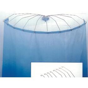 Telaio ad ombrello per tenda doccia a 10 aste in acciao cromato