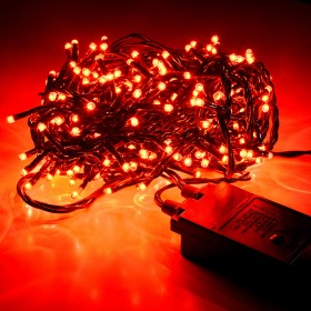 Minilucciole a catena con 180 mini lampade rosse e 8 giochi di luce - luci albero decori Natale