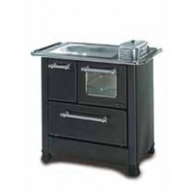 Cucina a legna Nordica Mod. Romantica 3.5 antracite 5.0 kW 143 m³ - stufa riscaldamento casa arredo interni