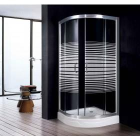 Cabina doccia semicircolare in cristallo serigrafato 6 mm per piatti cm 80x80  - box arredo bagno