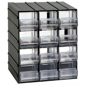 Cassettiera portaminuteria con 12 cassetti trasparenti Serie 500