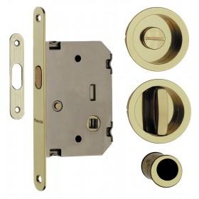 Kit serratura quadro per porte scorrevoli oro lucido a scomparsa