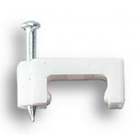 Fissacavi PVC piatti mm 8 con chiodo confezione 25 pezzi