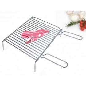 Graticola pesante in acciaio cromato con piedi cm. 40x35 - casa giardino Barbecue camino