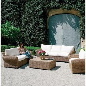 Tavolino in abaca per interni ed esterni cm. 120x75x40h - arredo casa giardino