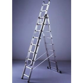 Scala combinata 3x9 alluminio 3 elementi h 258-684 cm cert. EN 131/1-2