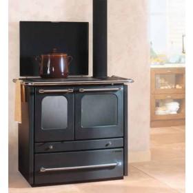 Cucina a legna Nordica Mod. Sovrana antracite 6.5 kW 186 m³ - stufa riscaldamento casa arredo interni