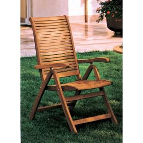 Poltrona pieghevole a 5 posizioni in legno balau finitura ad olio cm. 58x64x106h - arredo casa giardino