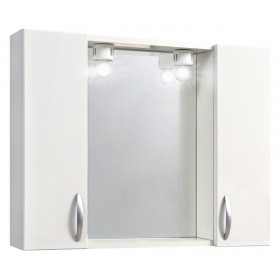 Specchio da bagno in legno laccato bianco completo di 2 ante Mod 960