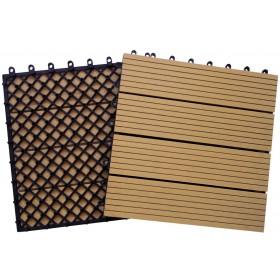 Pavimento a piastrelle  legno chiaro conf. Pz. 10 su supporto in resina cm. 31x31 in poliwood - arredo casa  giardino piscina