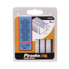 Graffette 6 mm PIRANHA 1000 pz graffatrice sparapunti - Mod. X70106