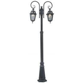 Lampione Serie Milano in alluminio verniciato grigio ghisa cm. 220 con protezione in vetro per lampada da 60 W - casa giardino