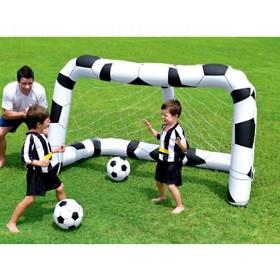 Porta da calcio gonfiabile con 2 palloni gioco per bambini cm. 213x122x137h - arredo casa giardino