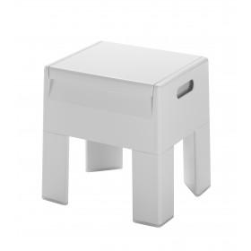 Sgabello contenitore in resina bianco Gedy ART.2073 cm 38.5x32.5x40.5 h