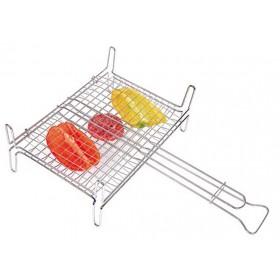 Graticola in acciaio cromato con piedi cm. 37x27 - casa giardino Barbecue