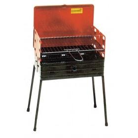 Barbecue a Carbonella Mod. 844 a valigetta struttura in acciaio piedi pieghevoli completo di Griglia regolabile - arredo casa giardino