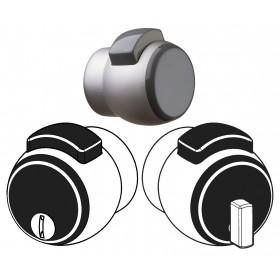 Pomello porta bagno MERONI con pulsante verniciato argento Art 12