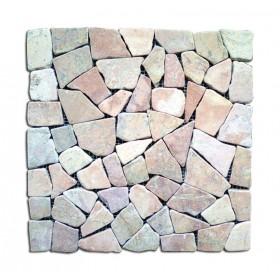 Mosaico in pietra naturale rosa conf. Pz. 11 su supporto in rete cm. 30x30 - arredo casa giardino piscina
