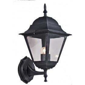 Lanterna con braccio Mod. Up Serie New York in alluminio verniciato grigio ghisa anticato con protezione in vetro per lampada da 60 W - casa giardino