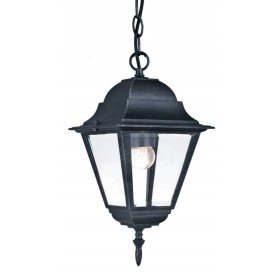 Lanterna con catena Serie New York in alluminio verniciato grigio ghisa anticato con protezione in vetro per lampada da 60 W - casa giardino