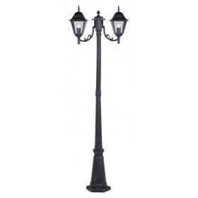 Lampione Serie New York in alluminio verniciato grigio ghisa anticato cm. 200 con protezione in vetro per lampada da 60 W - casa giardino
