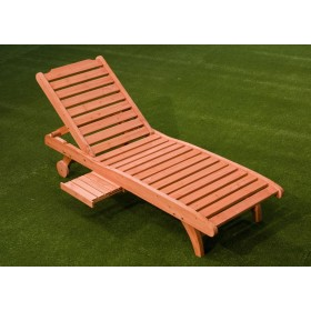 Lettino prendisole Mod. Country in legno con tavoletta portabicchieri - arredo casa giardino piscina