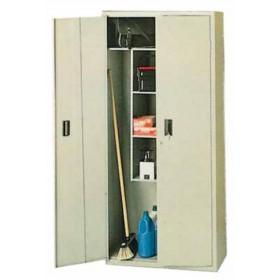 Kit armadio 2 ante in lamiera verniciata grigio con vano portascope cm. 40x80x175h - arredo ufficio casa dispensa condominio